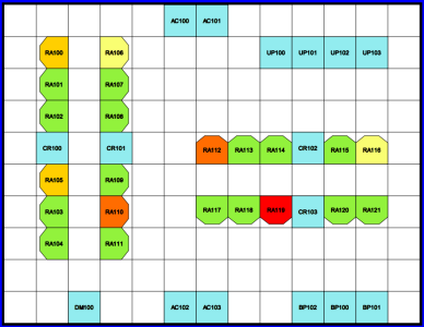 room layout with heat maps